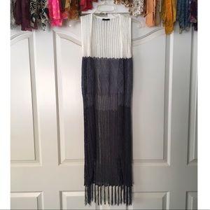 Ombré Crochet Longline Duster Vest